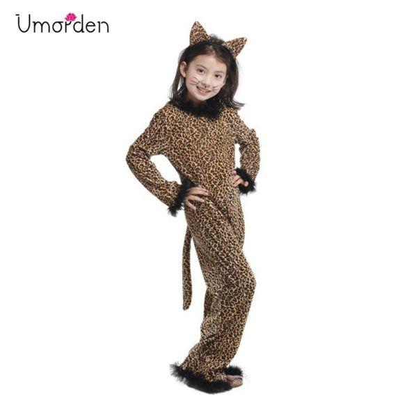Disfraces Halloween 2020 Catwoman For Kids Kids Child Animal Wild Leopard Costume for Girls Fantasy Jumpsuit