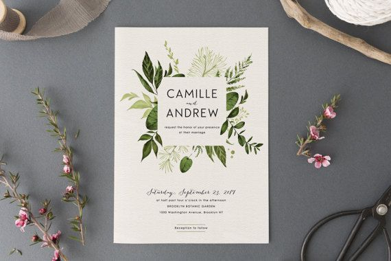 Woodland Wedding Invitation Set,Printable Forest Wedding Suite,Nature Wedding,Outdoor Wedding Invites,Green Leaves,Garden Wedding, Light