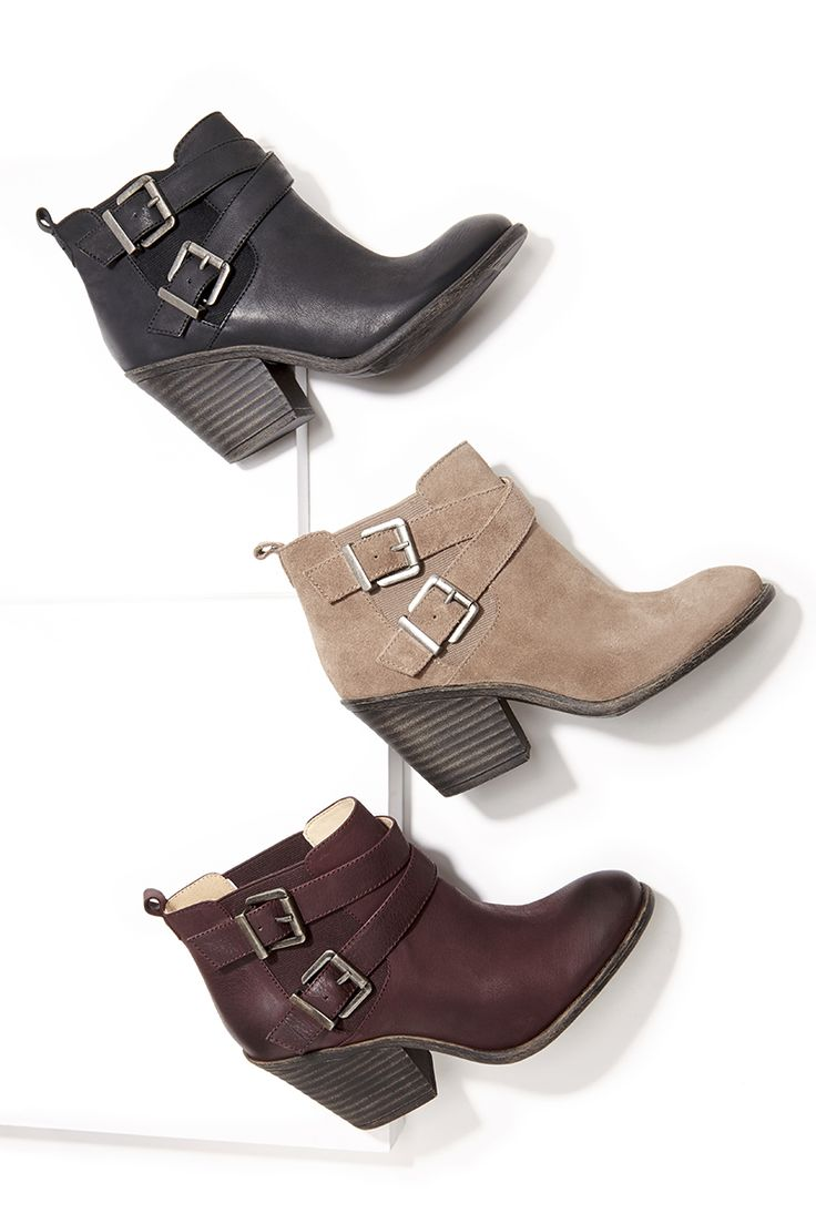 Leather & suede ankle booties with cool buckled straps