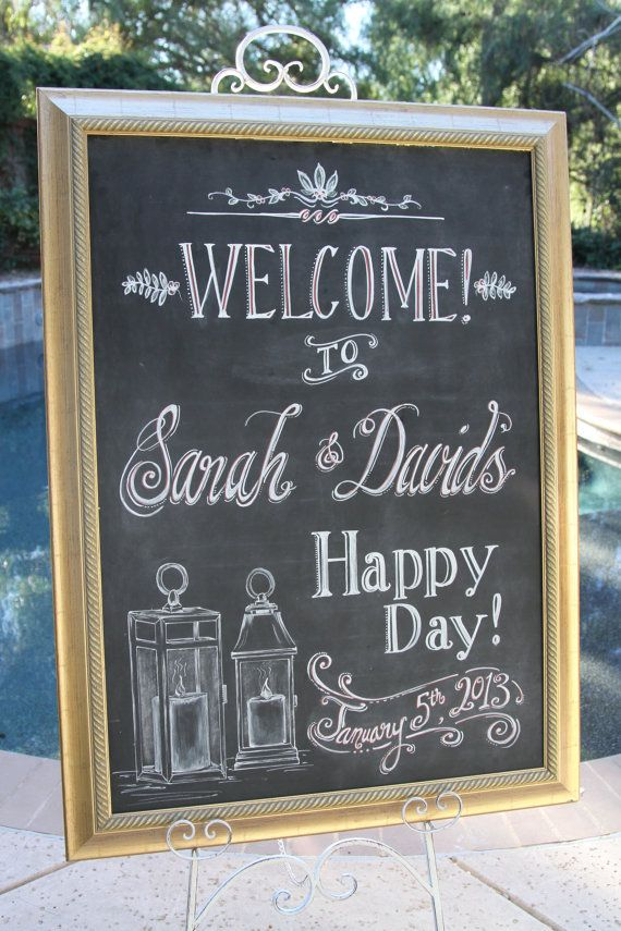 Extra Large Framed Wedding Welcome sign 33 x by BeeCuriousDesigns, $255.00