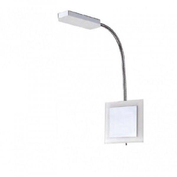 Arandela articulada com LED, não indicado para dimerização/automação,  Medidas: 11x45x3cm,  Material: Metal e acrílico,  Cor: Cromado e branco