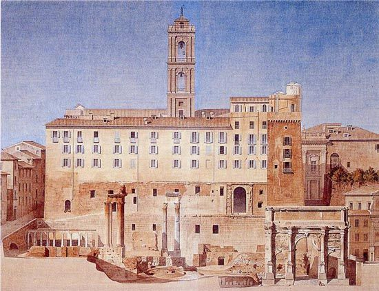 This is the Roman Forum and, in the background, the Tabularium, as was in 1865. Moyaux entered the Ecole des Beaux-Arts in 1852 and won the Prix de Rome in 1861, on the sixth attempt