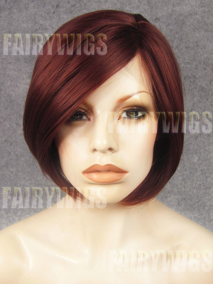 Chic Short Red Female Straight Lace Front Hair Wig 10 Inch
