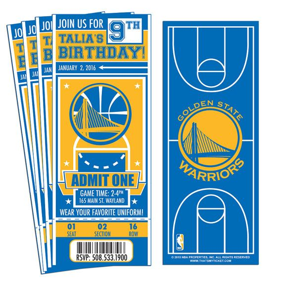 Etsy: 12 Golden State Warriors Custom Birthday Party by ThatsMyTicket.