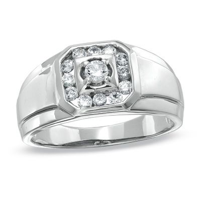 The perfect gay engagement ring for him!   Men's 1/2 CT. T.W. Diamond Frame Ring in 10K White Gold - Zales