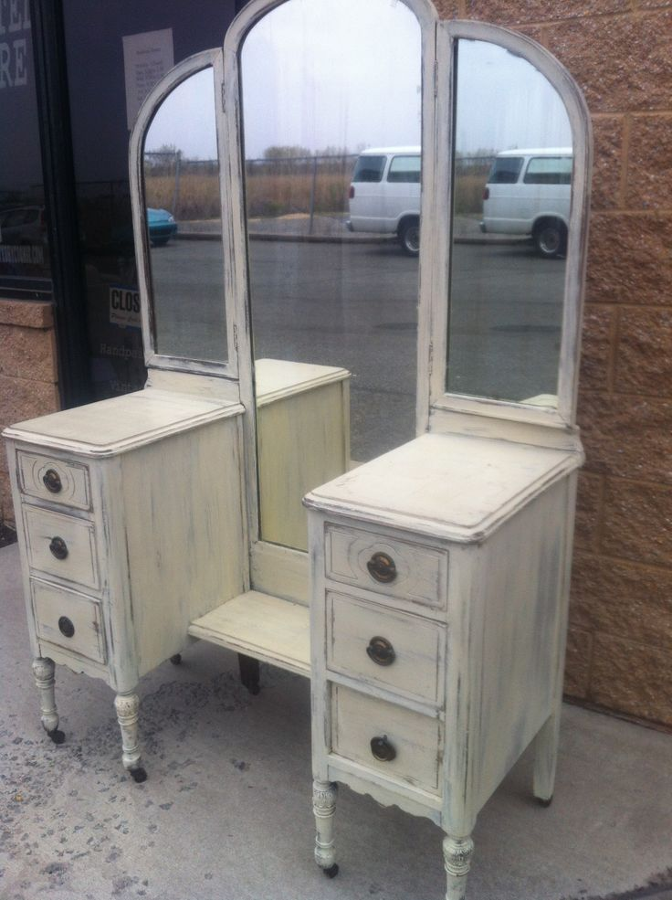 vintage shabby chic tri fold mirror vanity done in the