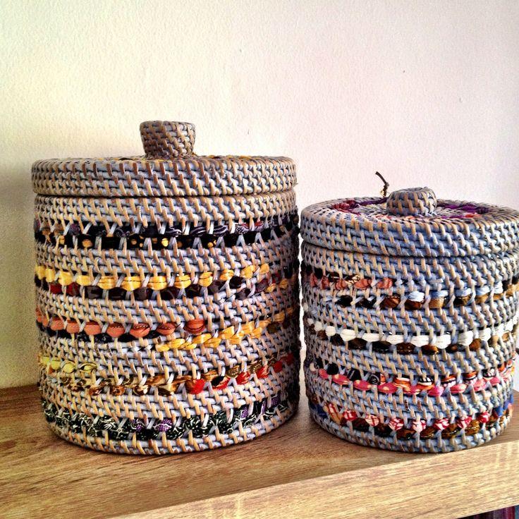 Lombok basket combine with fabric weaving