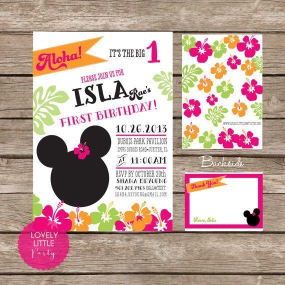 diy minnie mouse luau invitation kit invite and thank you card included luau birthday