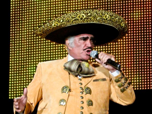 """Vicente Fernandez is performing in Fresno, CA during his worldwide farewell tour.  """"El Rey de la Canción   Ranchera"""" will be at the Selland Arena on November 16th 2012.  Cancelled due to illness.  Re-scheduled for April 12, 2013!  Great concert!  Started off with son Jr singing and Vicente Fernandez """"El Rey"""" sang from 8:45 to 11:45 pm!   3 hours!  Performed with same color charro outfit above!"""