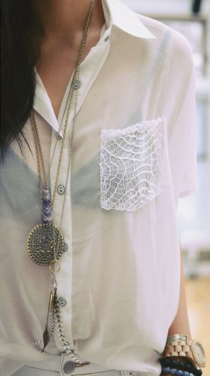DIY CLOTHING INSPO | Lace Pocket. Want the white shirt!