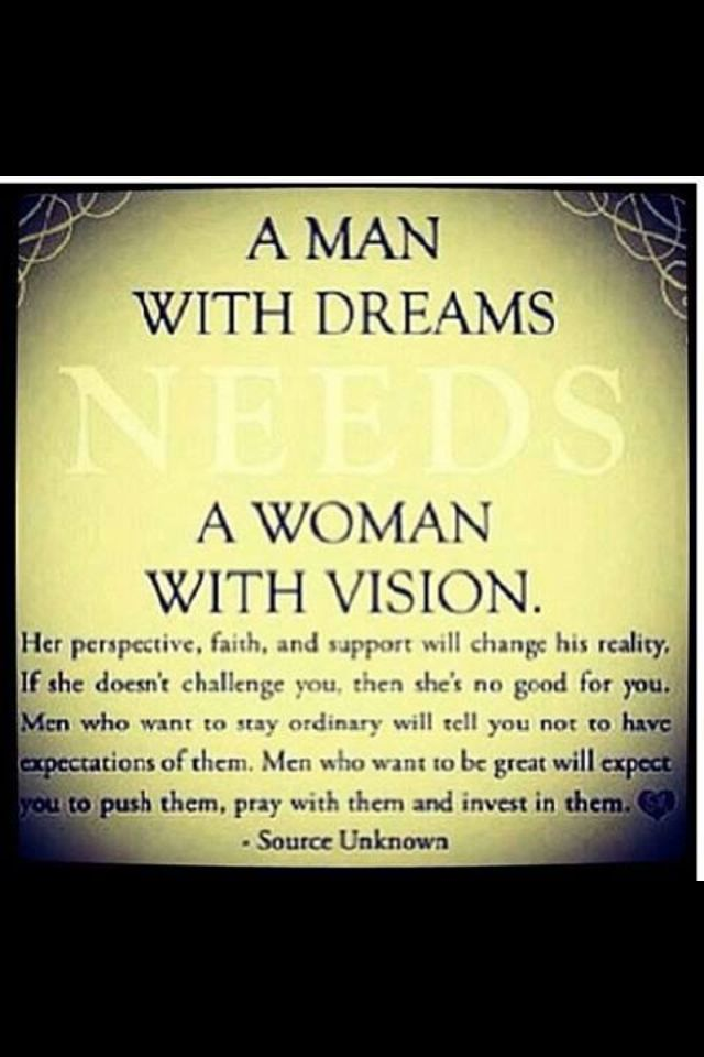 And this is what makes a successful relationship! Too bad some women don't understand this and think that screaming and yelling and acting like a 2 year old will make their husbands love them more........ummm news flash.......they end up hating you! No wonder they are so happy when you leave them! Make a relationship successful by being supportive!
