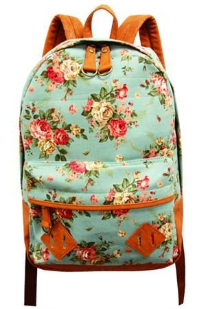 Floral backpack. When I went to school, we had the choice between red.... or blue.