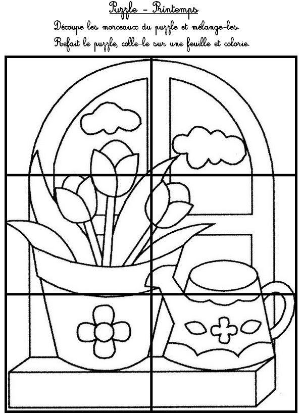 Puzzle le printemps maternelle printemps pinterest - Fleur a colorier et a decouper ...