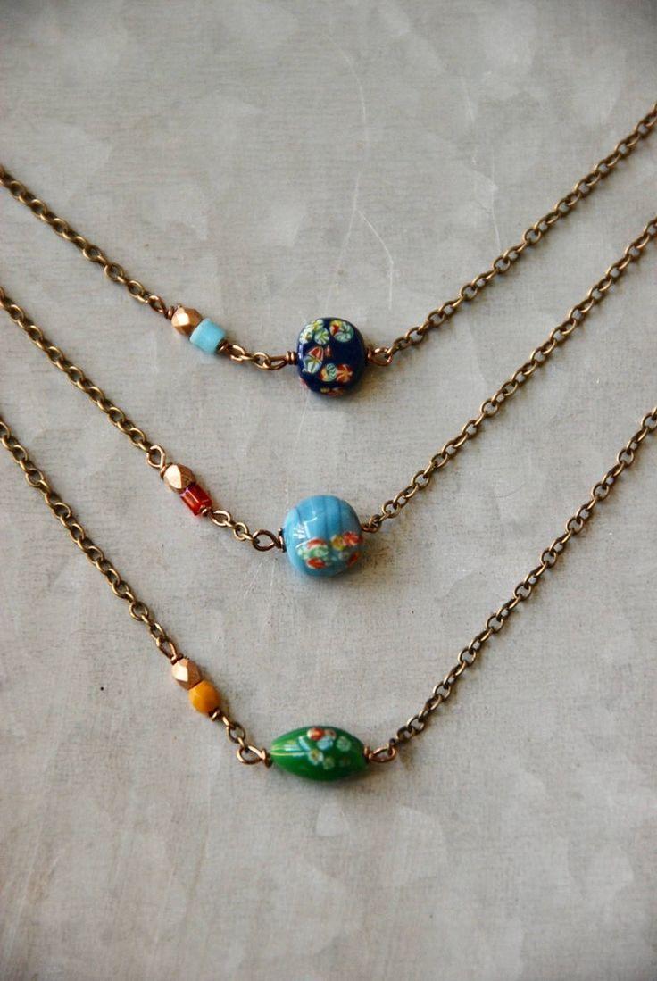 Gargantilha de contas florais vintage, colar curto, colar de camadas, colar pequeno colorido, gargantilha de contas, colar simples, colar de charme   – Jewelry DIY