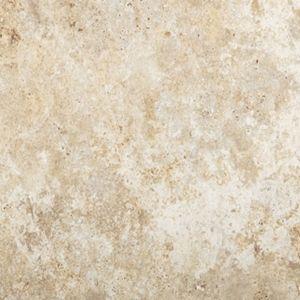 "Tarkett Premiere GroutFit Tile Tibur Stone Crema Hushed Conversations- 16""x16"" Vinyl floors, bathroom floors, laundry room floor, utility room, basement floors, flooring ideas, lake house, beach house, vinyl tile, stone look floors, waterproof floors, dog friendly, kid friendly, light tile, cream tile, white tile"