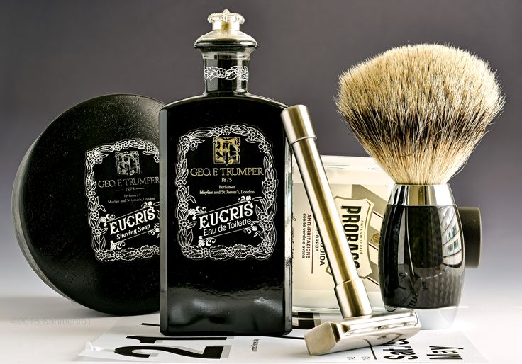 Trumper's Eucris shave soap and cologne, Muehle badger brush, Pils safety razor, Proraso white aftershave balm, May 20, 2016.  ©Sarimento1