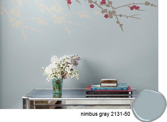 Wall color: Benjamin Moore Nimbus Gray (soothing gray with blue undertones)