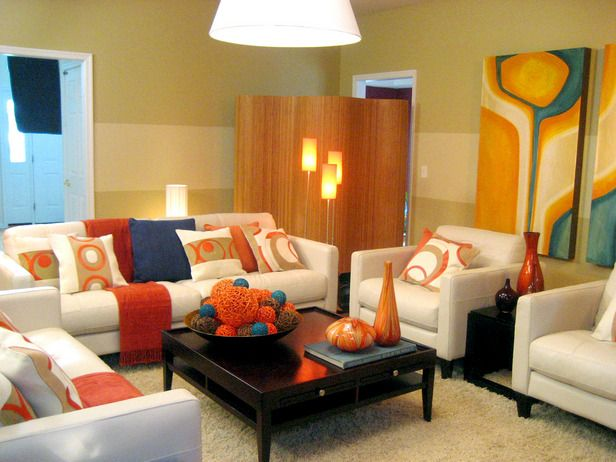 The blue red orange and yellow orange are split for Orange and yellow living room ideas