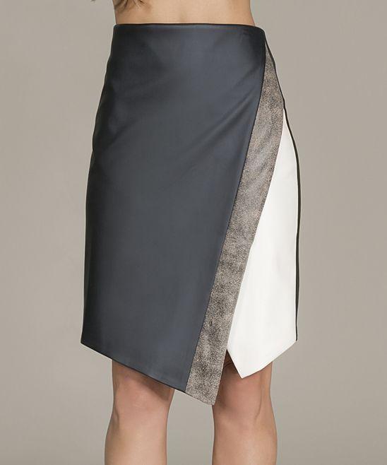 Black & White Color Block Asymmetrical Skirt - Black & White Color Block Asymmetrical Skirt | zulily