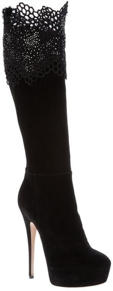 black suede knee high boots with lace and silver-tone beading