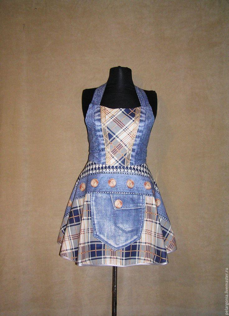 """Лоскутная мозаика - мои работы. Фартук женский """"Джинсовый-2""""(юбка клеш,джинса, синий) - женский фартук, подарок женщине"""