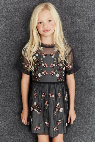 Buy Grey Embroidered Mesh Dress (3-16yrs) online today at Next: United States of America