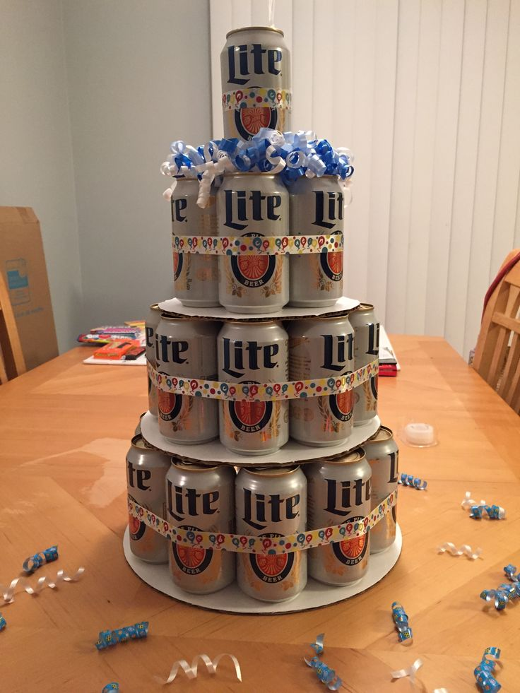 Beer cake!  I made this for my Husband's 36th birthday!  He LOVES it! How I made it... Bottom tier (4th) 10 cans, 3rd tier 8 cans, 2nd tier 5 cans (4 around and 1in the middle) and top 1 can.