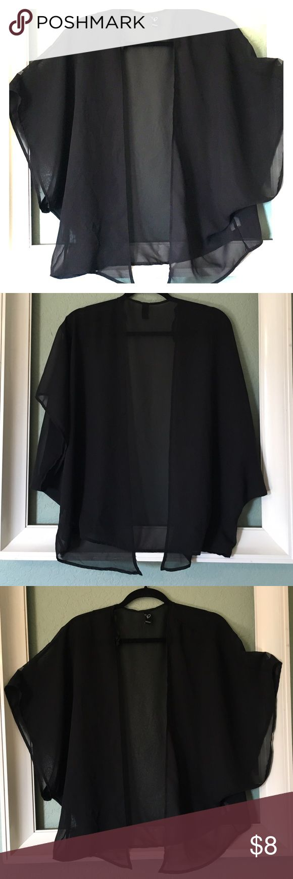 Windsor Sheer Black Flowy Cover Up Windsor Sheer Black Cover Up ~ Flowy Blouse With Wide Sleeves ~ 100% Polyester ~ Size Medium Windsor Tops