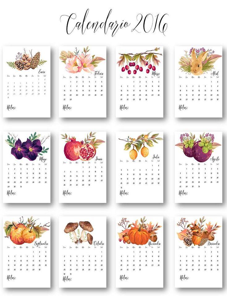 Calendarios 2016 para imprimir.    THEBBT   Agenda   Calendario   Organizadores   Organización   Planes   Metas