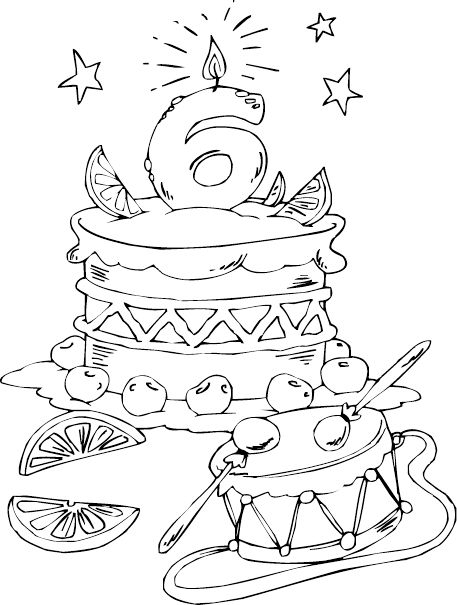 Birthday Cake Age 6 Coloring Page  Coloringcom