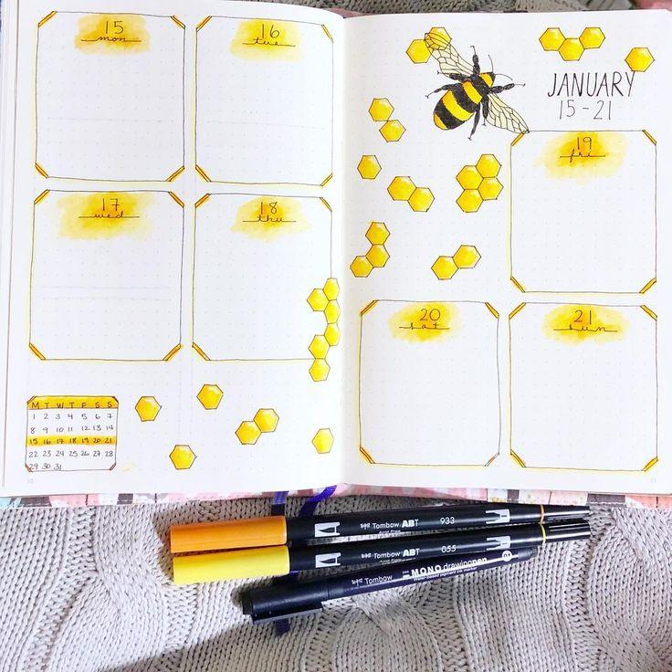 Bee Bullet Journal Spreads!