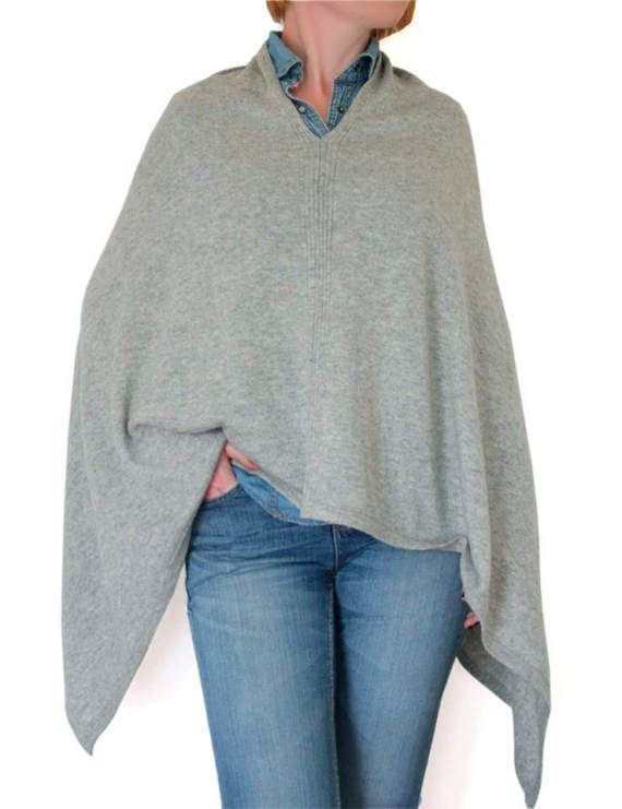 Light grey cashmere poncho poncho cape cashmere by CurryMoon