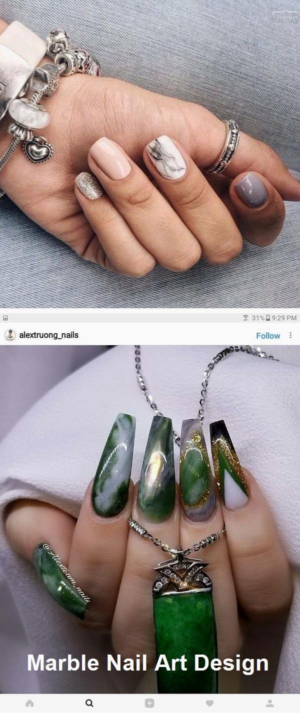 25 Marble Nail Design with Water & Nail Polish #marblenail