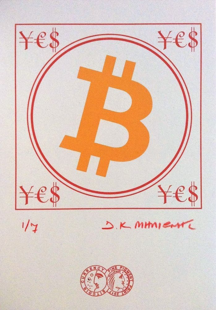 """""""BIT COIN ¥€$""""  Signed 1/7 Limited Edition Giclee Pigment Print 2017 Cryptoart a #PopArt"""