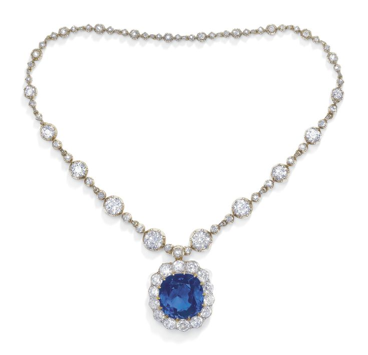 IMPORTANT LATE 19TH CENTURY SAPPHIRE AND DIAMOND PENDENT