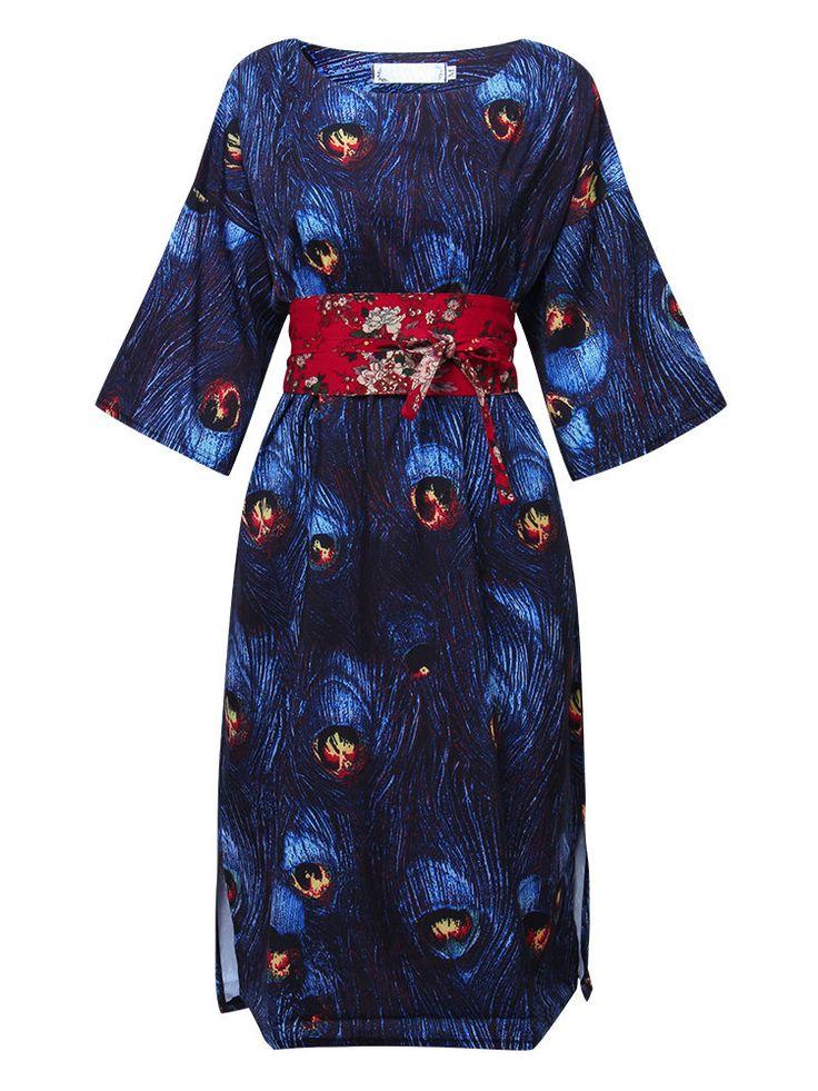 Elegant Women Peacock Printed Half Sleeve Side Split Dresses