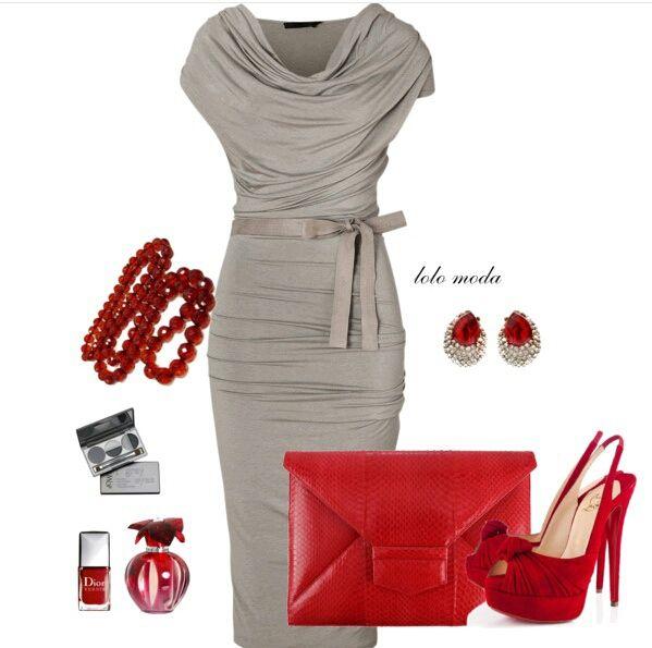 Pretty dress with red touch, www.lolomoda.com