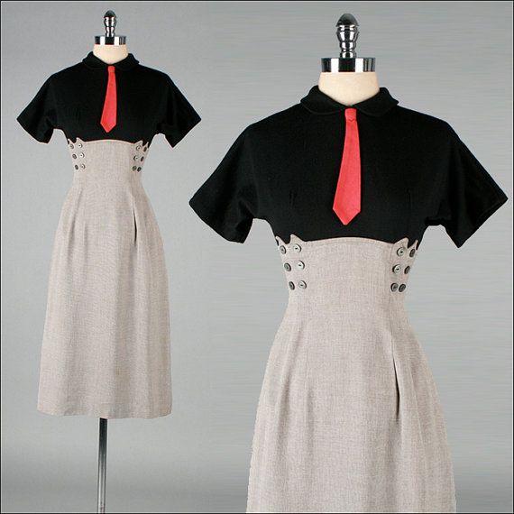 r e s e r v e d for KATIE /// Vintage 1940s Dress . Black Wool ...