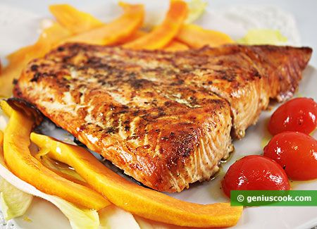 Grilled Salmon with Papaya and Herbs | Romantic Dinner Recipes | Genius cook - Healthy Nutrition, Tasty Food, Simple Recipes