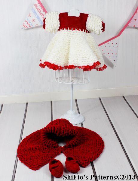 CROCHET PATTERN For Baby Dress Cape & Booties Crochet par ShiFio