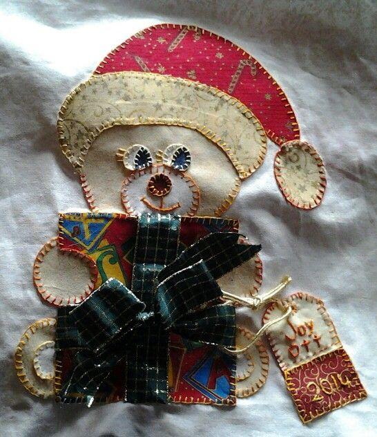 Christmas bear hand applique for raffle quilt