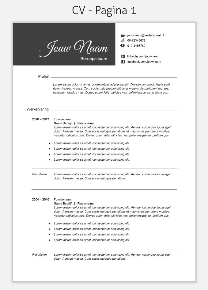 CV template 211 om te downloaden