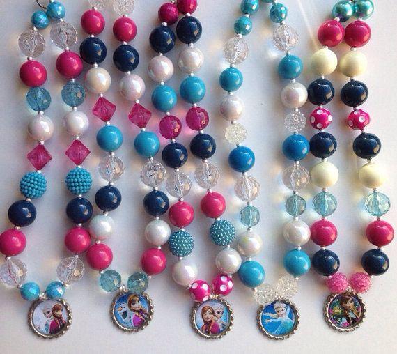 Disneys Frozen necklace..chunky necklace..chunky bead necklace..bottle cap necklace..frozen necklace..Elsa necklace..Anna necklace