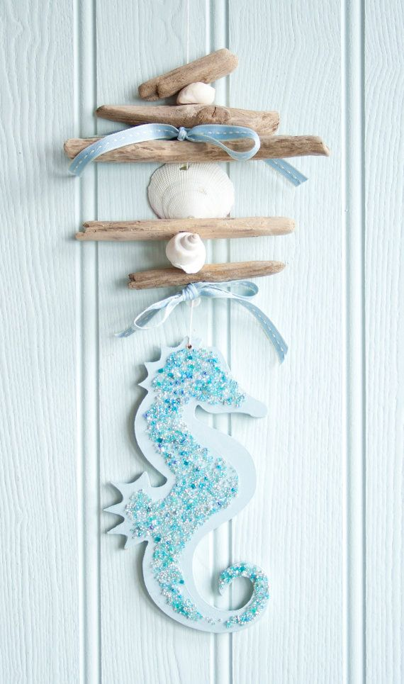 Coastal driftwood hanging sea horse garland by driftwooddreaming