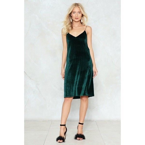 Nasty Gal Applause Velvet Cami Dress ($36) ❤ liked on Polyvore featuring dresses, dark green, v neck velvet dress, dark green velvet dress, v-neck dresses, strappy dress and cami dress