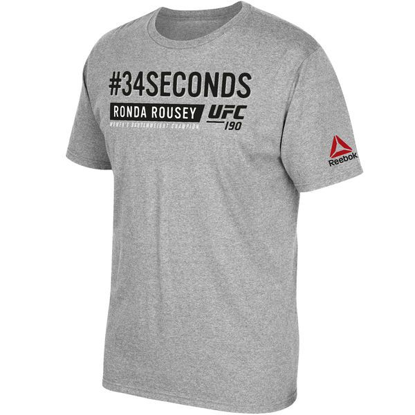Ronda Rousey UFC Reebok Hashtag 34 Seconds T-Shirt - Heather Gray