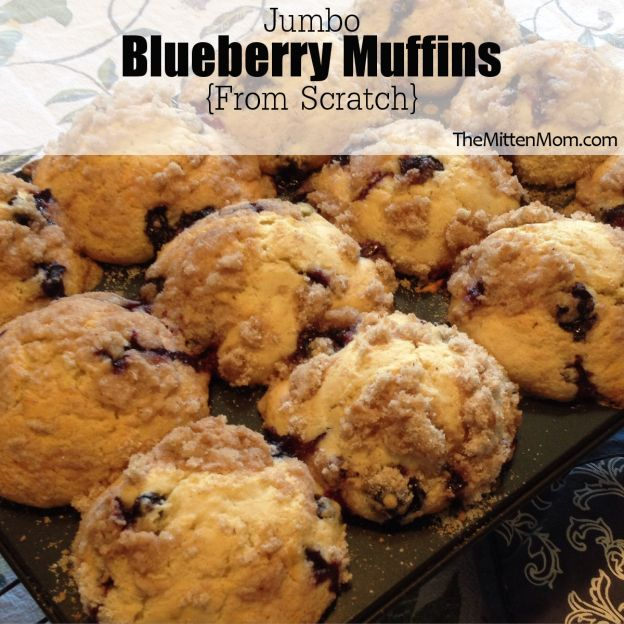 Homemade jumbo blueberry muffins that are sweet, moist and easy to make. Plus they are huge!