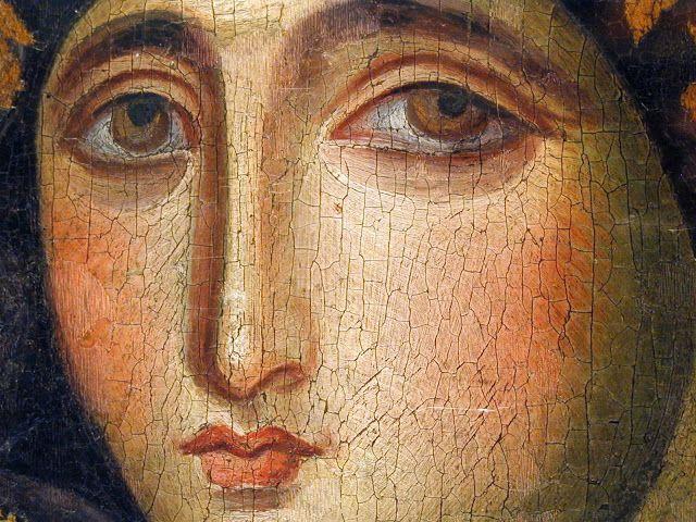 Particolare della Vergine Volto, dalla icona bizantina della Madonna rara Agiosoritissas.