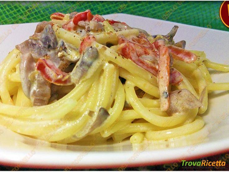 Bucatini con peperoni e funghi  #ricette #food #recipes