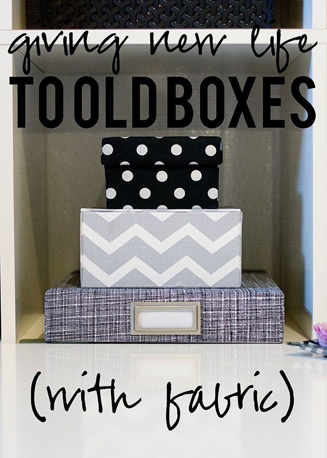 Giving-New-Life-to-Old-Boxes  GREAT IDEAS/blog! She saved boxes and covered them with fabric from JoAnn's and other stores in main black, white, and grey theme.